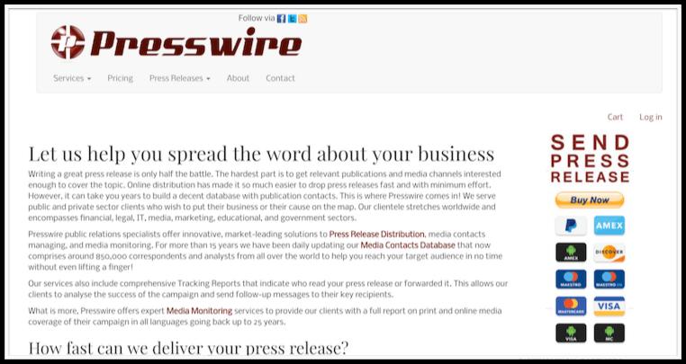 Presswire release services