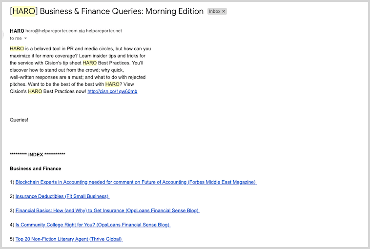 Example of HARO email