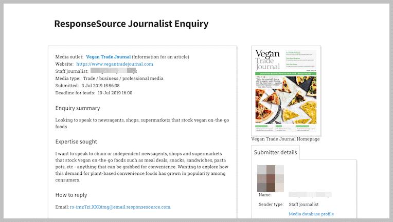Journalist Enquiry