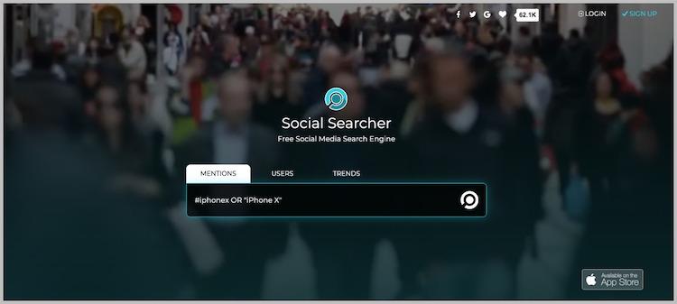 Social Searcher social media management tool