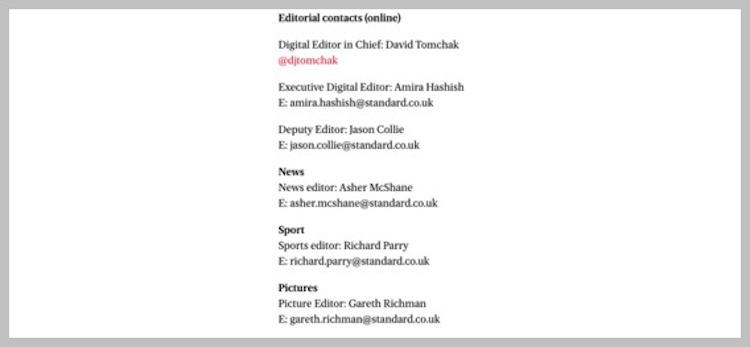 Where to find journalist contact details